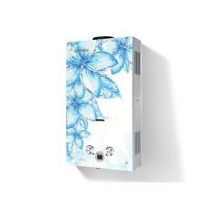 Газовая колонка Zerten GLASS D-20 кВт (голубые цветы на белом фоне)